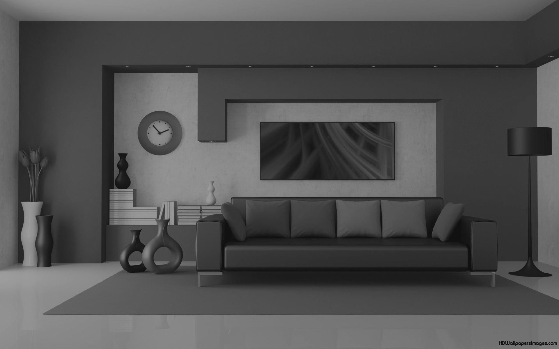 zwart wit foto van een sofa
